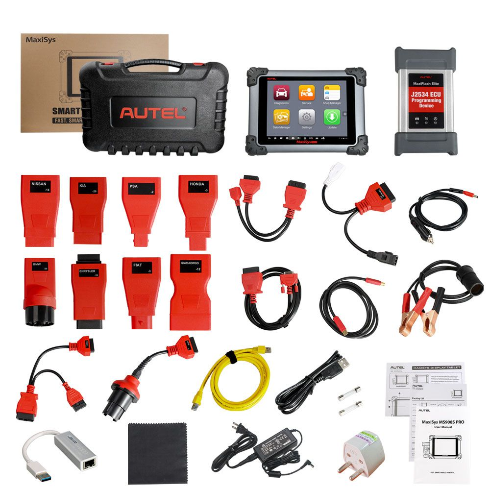 Original Autel MaxiSys MS908S Pro Professional Diagnostic Tool with J2534 ECU Programming Device