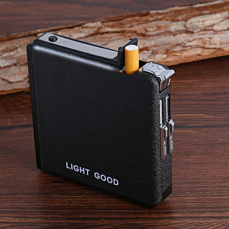 Cigarette Case Automatic Lighter Ejection Butane Windproof Metal Box Holder Home Outdoor Smoking Cigarettes case No Fuel NO Gas