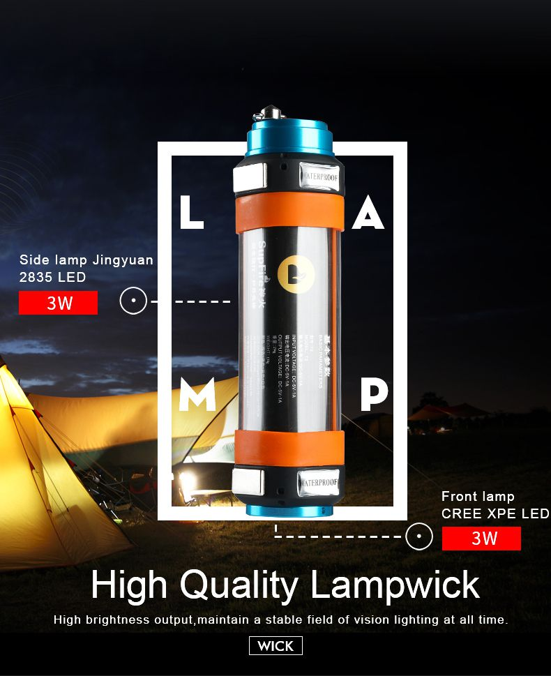 Camping LED Light T2 Flashlight Hand Lamp Torch Tent Light Work Lamp