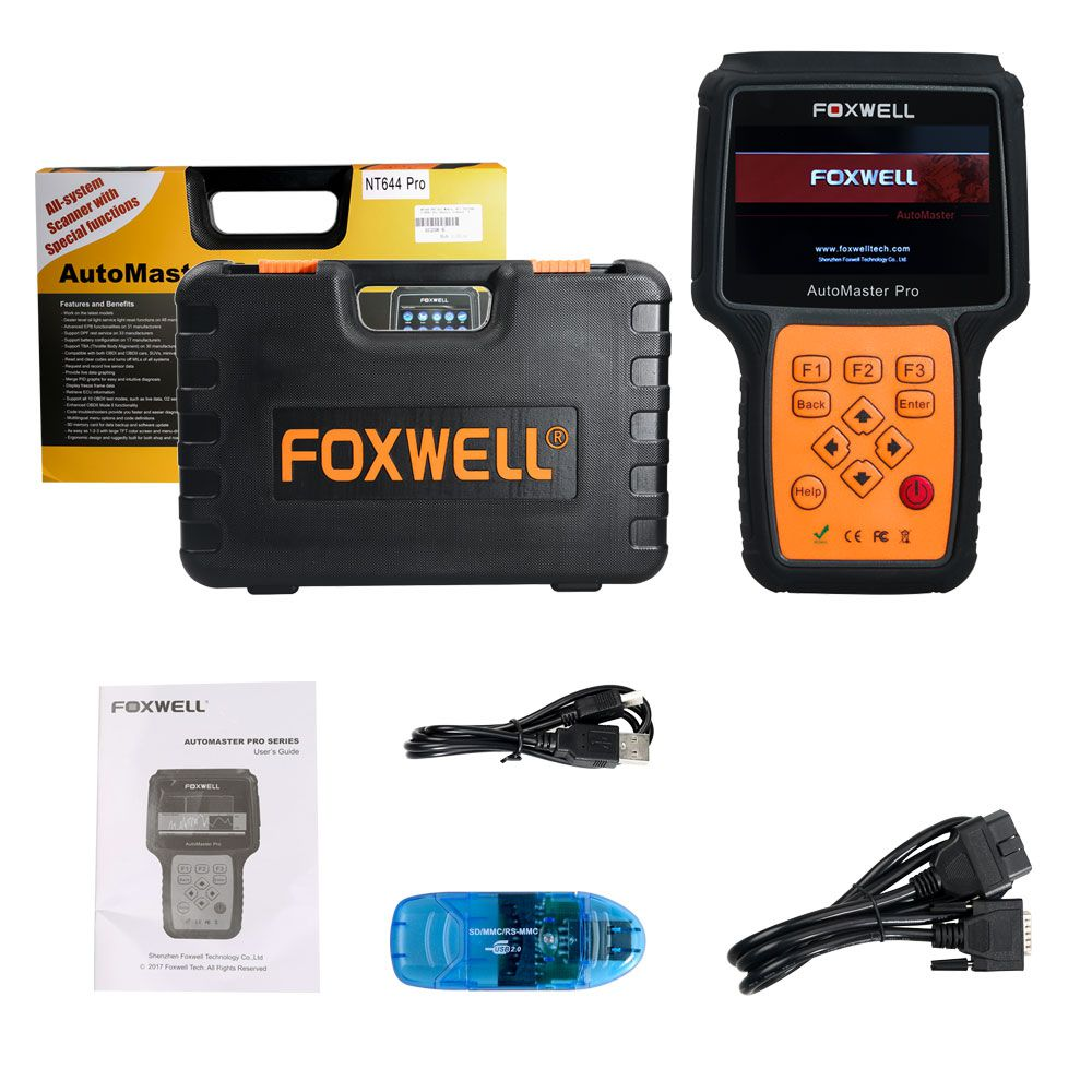 Foxwell NT644 Pro Support 60+ Makes Full System Diagnostic Scanner with Special Functions (EPB/ABS/SRS/DPF/SAS/TMPS/Injector/SAS/Oil Reset)