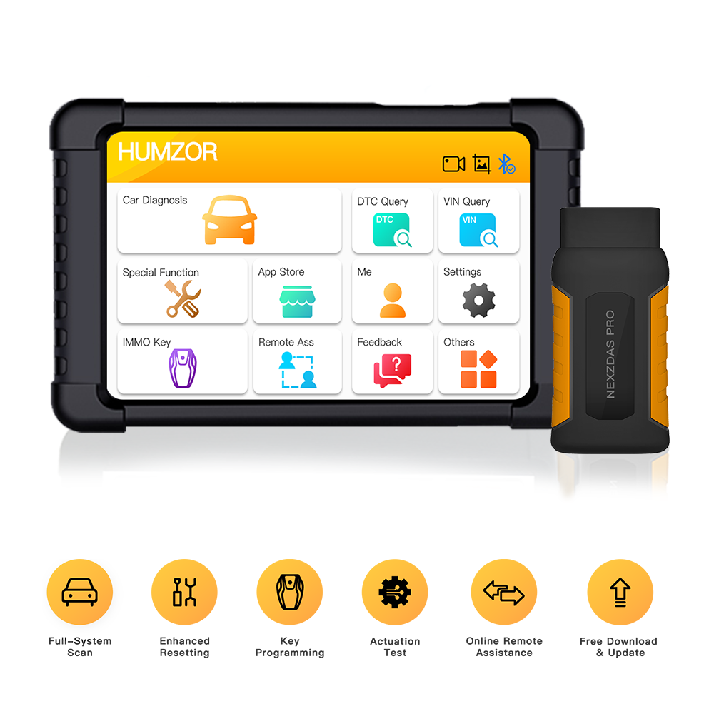 Humzor NexzDAS Pro Bluetooth 10inch Tablet Full System Auto Diagnostic Tool Professional OBD2 Scanner with IMMO/ABS/EPB/SAS/DPF/Oil Reset