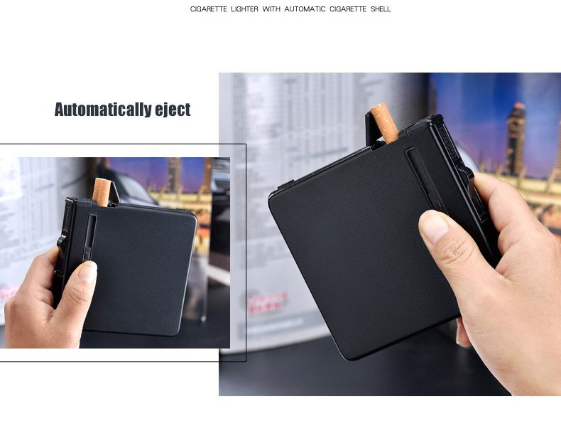 Automatic Ejection Metal Cigarette Case Cigar Box Windproof Inflatable Gas Lighter