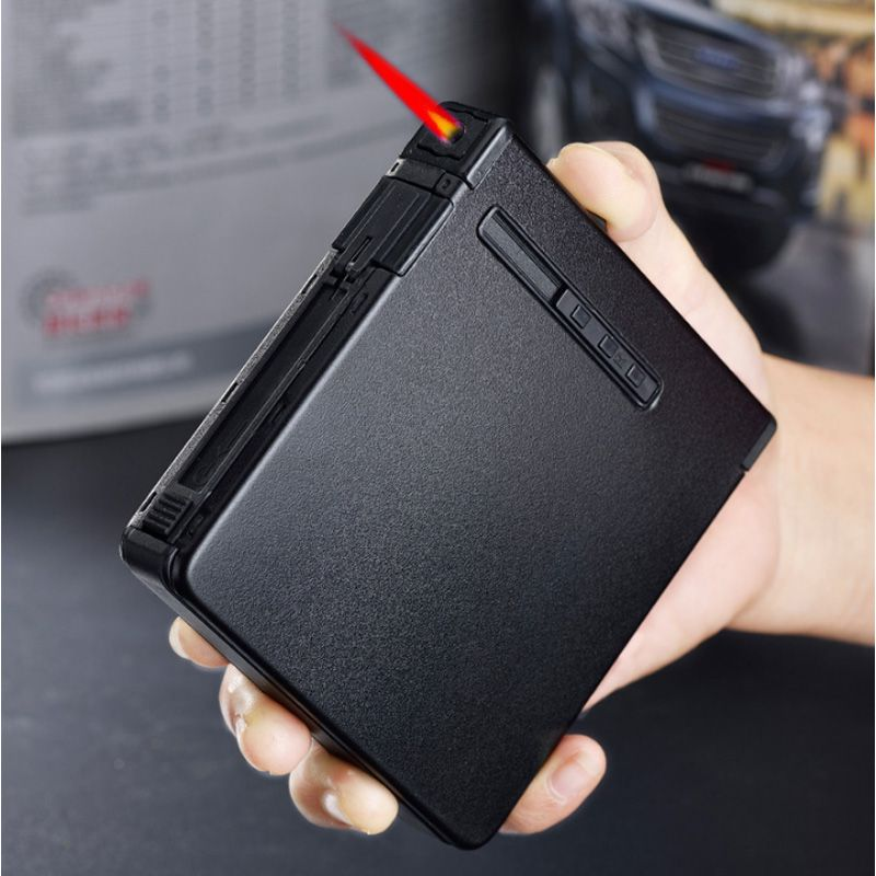 Automatic Ejection Metal Cigarette Case Cigar Box Windproof Inflatable Gas Lighter Smoker Men Gift No Gas