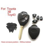 Remote Key Shell For Toyota 3 Button (Have Concave Position Without Sticker) 5pcs/lot