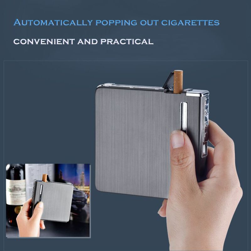 Automatic Ejection Metal Cigarette Case With USB Rechargeable Electric Lighters