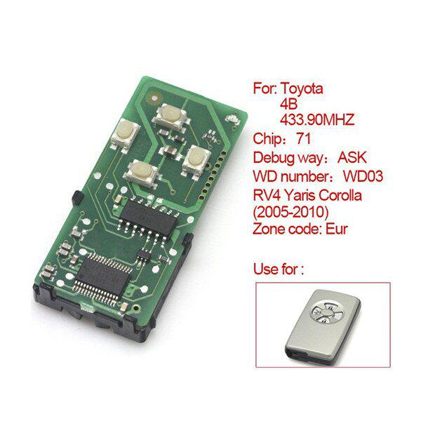 Toyota Smart Card Board 4 Buttons 433.92MHZ Number 271451-5290-Eur