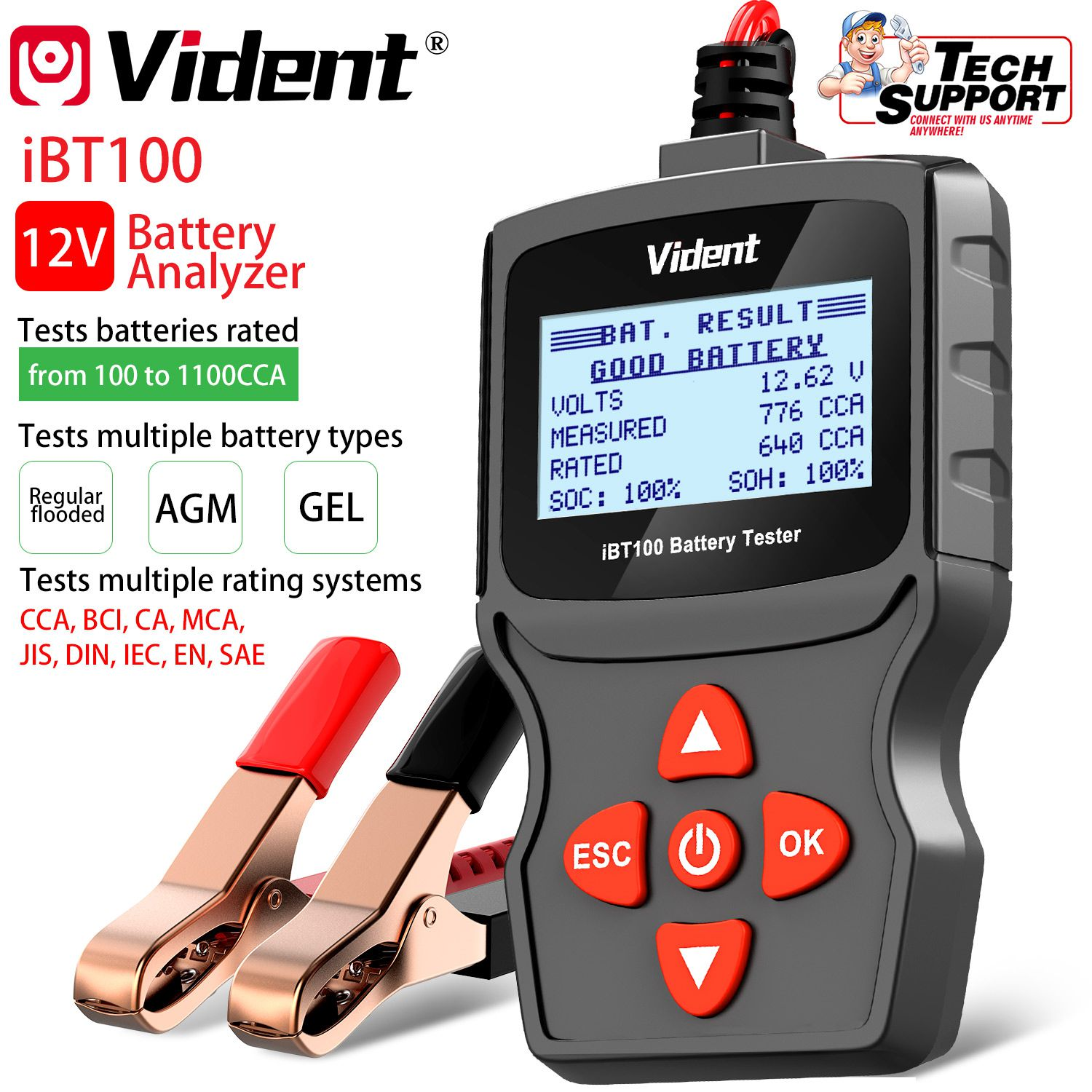 Vident iBT100 12V Battery Analyzer for Flooded, AGM,GEL 100-1100CCA Automotive Tester Diagnostic Tool