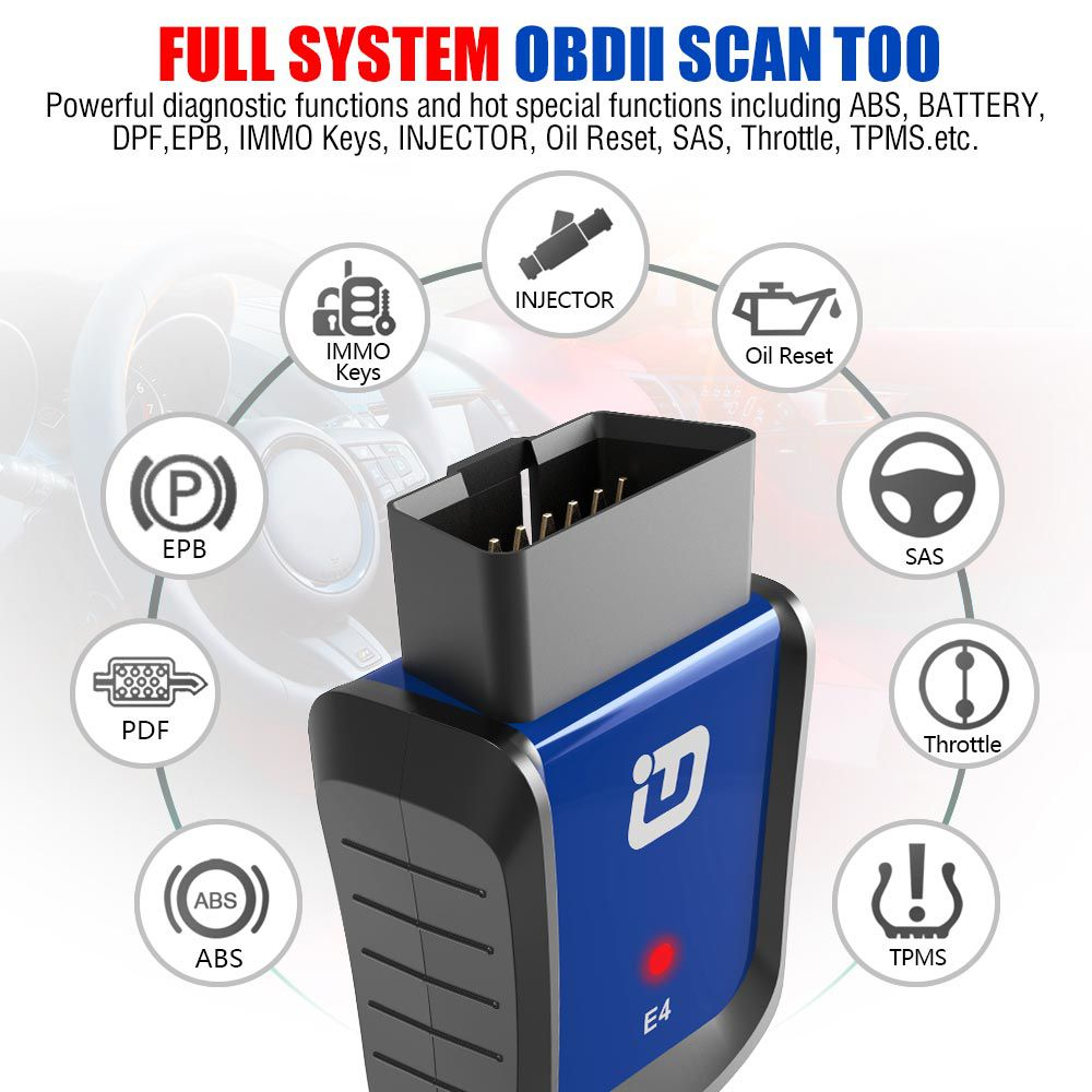 VXDIAG VPECKER E4 Easydiag Bluetooth Full System OBDII Scan Tool for Android Support ABS Bleeding//Battery//DPF//EPB//Injector//Oil Reset//TPMS